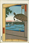 Ando Hiroshige Japanese Woodblock Print - Mannen Bridge - Turtle