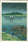 Kawase Hasui Japanese Woodblock - Early Summer Rain, Arakawa River
