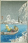 Takahashi Shotei Japanese Woodblock Print - Ferry in Snow -Rare