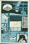 Minagawa Taizo Japanese Woodblock Print - A Cat at Home
