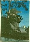 Takahashi Shotei Japanese Woodblock Print - Moonrise at Tokumochi