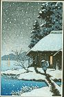 Japanese Woodblock Print - Snowy Cottage