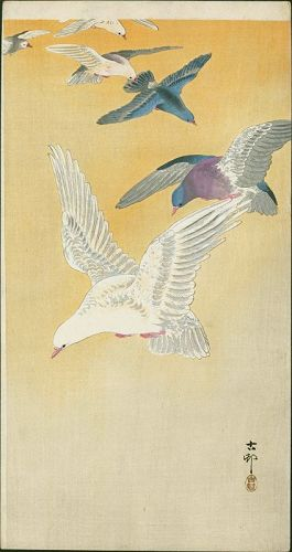 Ohara Koson Japanese Woodblock Print - Six Pigeons in Orange Sky RARE