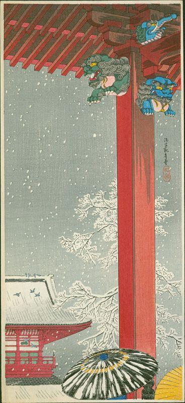Takahashi Shotei Japanese Woodblock Print - Snow at Asakusa Kannon-do