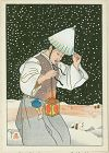 Paul Jacoulet Japanese Woodblock Print - Nuit de Neige, Coree