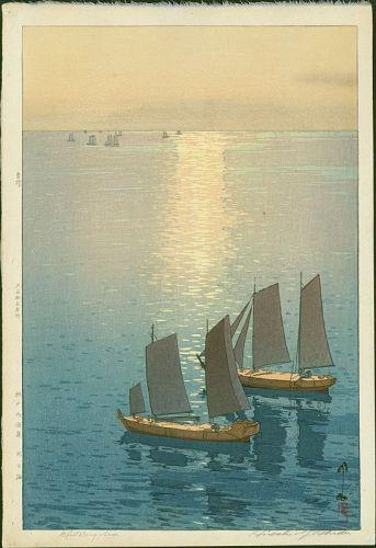 Hiroshi Yoshida Japanese Woodblock Print - Glittering Sea (Jizuri)