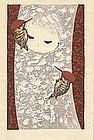 Kaoru Kawano - Woodblock Print - Woodpeckers (SOLD)