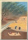Ohno Bakufu Woodblock Print - Rice Harvest SOLD