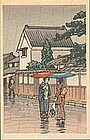 Tomoe Japanese Woodblock Print - Rain