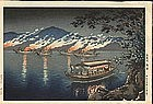 Tsuchiya Koitsu Woodblock - Cormorant Fishing SOLD