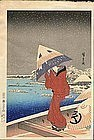 Hiroshige Japanese Woodblock Print - Umbrella / Snow