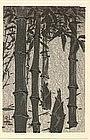 Ide Gakusui Japanese Woodblock Print - Bamboo