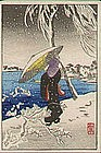 Shotei Japanese Woodblock Print - Woman in Snow