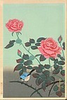 Ohno Bakufu Japanese Woodblock Print - Red Rose