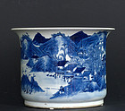 Chinese Blue and White Porcelain Planting Pot, Qing