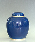 Lidded Blue (Jilan) Glazed Porcelain Jar, 18th Century