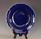 Blue Glazed Dish with Foliate Rim and Chenghua Mark, Late 17th Century