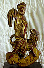 Antique Chinese wood lacquer carving man and dog 1