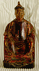 Antique Chinese small lacquered  wood seated nobleman