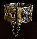 Antique Morocco Berber silver enameled Bracelet Tiznit