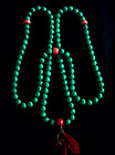 Tibetan Prayer Beads Malachite with Coral counters