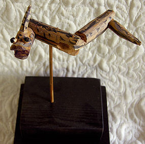 Antique Chinese Folk Art Children's Wooden Snake Toy
