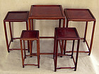 Set 5 antique Chinese graduated boxwood display stands