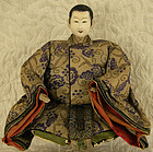 Antique Japanese seated nobleman doll signed