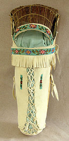 American Ute Indian bead trim cradle board