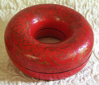 Antique Chinese lacquered donut shaped necklace box