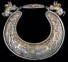Antique Chinese Ethnic Minority silver necklace bib