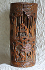 Tall Antique Chinese Carved Bamboo Brush Pot