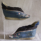 antique chinese pair of lotus shoes blue quilted