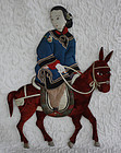 Antique Chinese folded fabric figure of woman on donkey