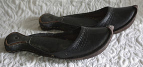 Antique Pair Traditional Turkish leather shoes Charoog