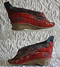 Antique Chinese  pair of red quilted lotus shoes