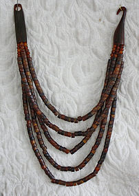 Vintage Indonesian necklace goat horn beads