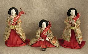 Meiji Girls Day Hina Dolls set of 3 small Ladies
