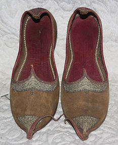 Pair of traditional womans leather shoes central Asia