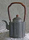 antique Chinese etched pewter teapot bamboo handle