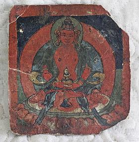 Tibetan Buddhist Tsakli painting card writting on back