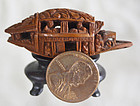 Miniture Qing Dynasty wood carving toggle Chinese boat