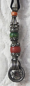 antique Tibetans silver pendant w coral turquoise beads