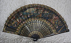 Chinese Export silk painted fan with lacquer struts