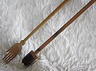 Antique Chinese hand carved long handled brush and back scratcher