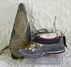 Antique Chinese Pair of Embroidered Lotus Shoes for bound feet gray