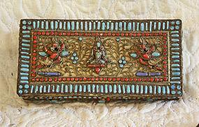 Nepal metal box with Intricate filigree  and stone work  box