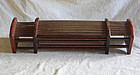 Antique Chinese collapsing wood and bamboo double pillow Qing Dynasty