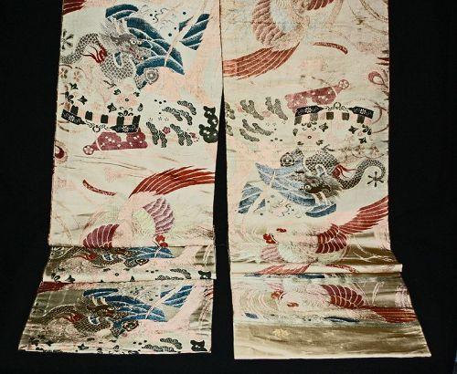 Meiji Period Japanese silk Brocade Maru obi