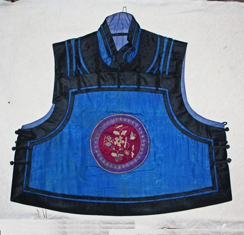 Antique Chinese  Qing Dynasty Child silk top with embroidered rondel